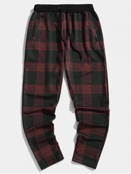 Pantalones a cuadros de Colorblock elástico deporte del basculador - Vino Tinto XL