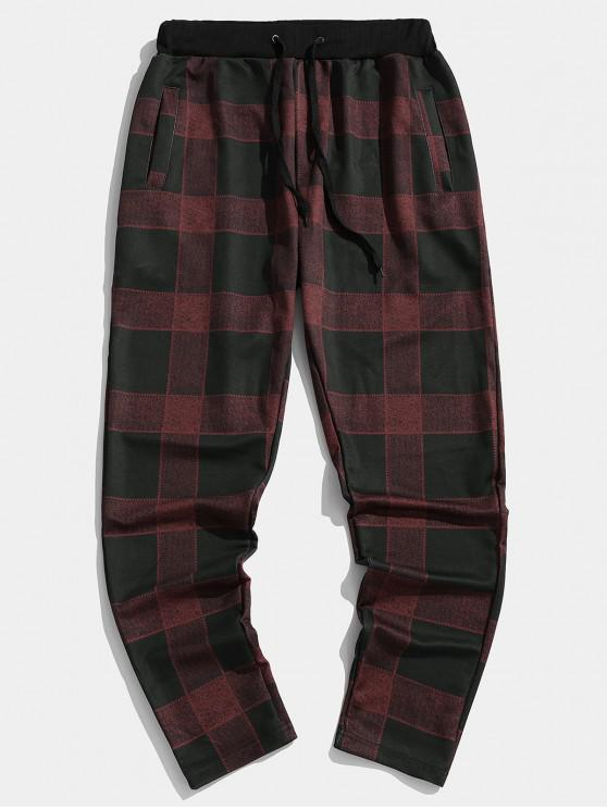 lady Checkered Colorblock Elastic Sport Jogger Pants - RED WINE 3XL