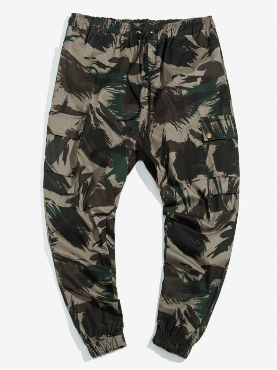 outfit Allover Abstract Print Drawstring Cargo Jogger Pants - MULTI S