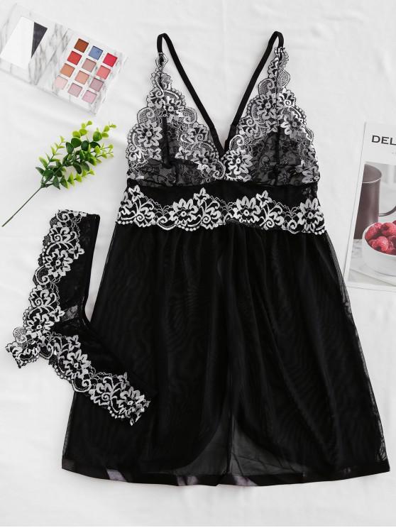 outfits Satin Trim Floral Lace Panel Babydoll Set - BLACK L