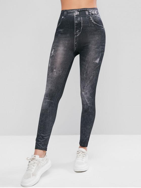 affordable High Waisted 3D Print Jeggings - BLACK ONE SIZE