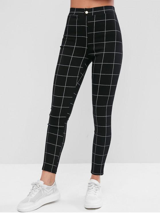 women's Plaid Button Embellished Pockets Leggings - BLACK M