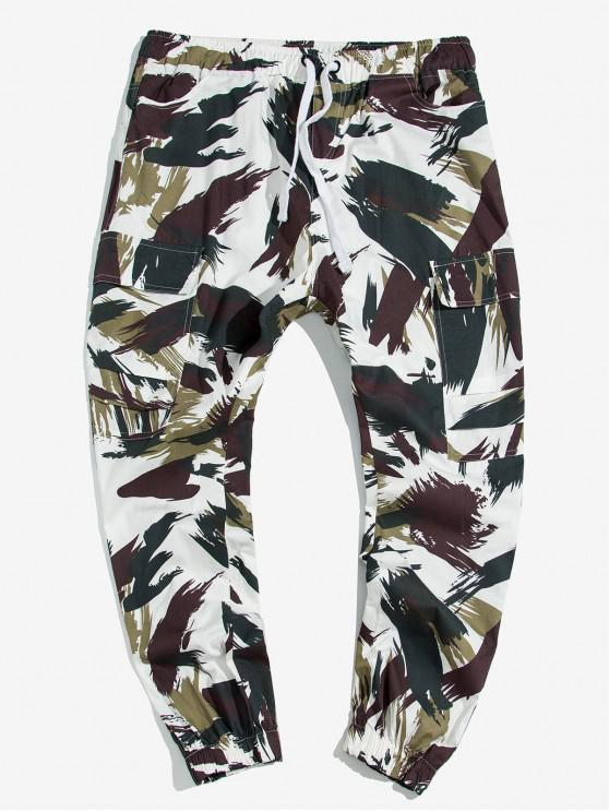 unique Ink Scrawl Print Drawstring Cargo Jogger Pants - MULTI XL