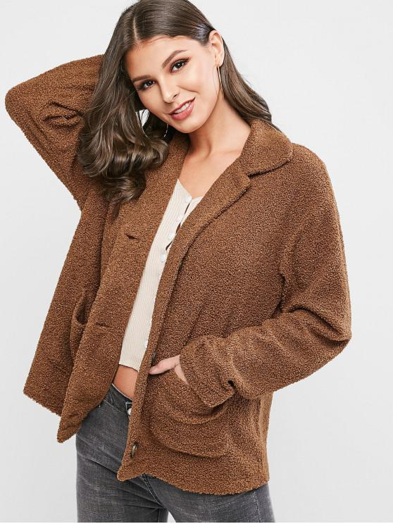 hot ZAFUL Button Front Dual Pocket Teddy Jacket - BROWN L