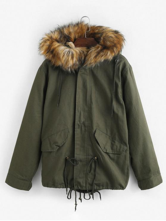 buy Faux Fur Hooded Parka Jacket - ARMY GREEN M