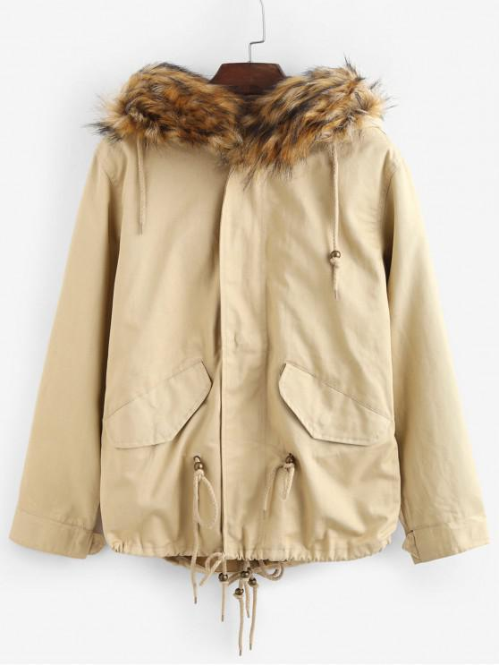 outfits Faux Fur Hooded Parka Jacket - LIGHT KHAKI S