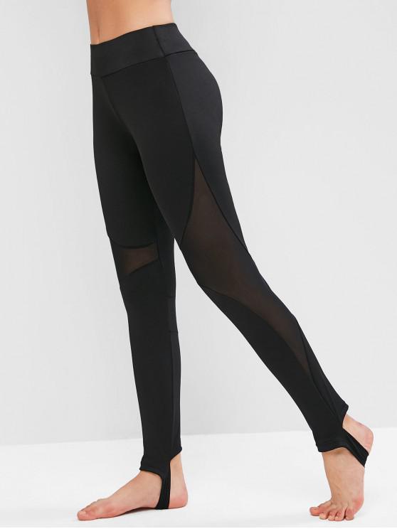 latest Mesh Insert Skinny Stirrup Leggings - BLACK L