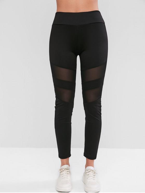 fashion Mesh Insert Skinny Workout Leggings - BLACK S