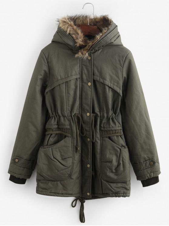 online Faux Fur Lining Hooded Parka Coat - ARMY GREEN M