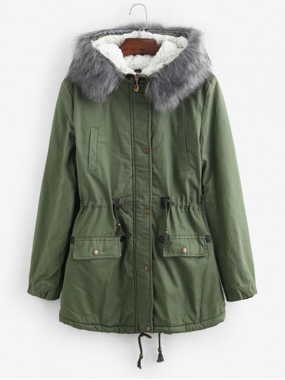 hot Faux Fur Lining Hooded Longline Parka Coat - ARMY GREEN M