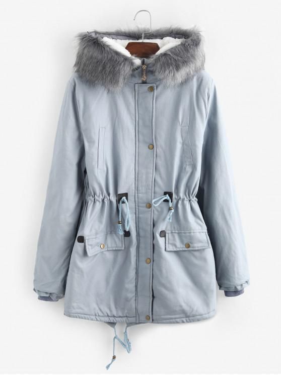ladies Faux Fur Lining Hooded Longline Parka Coat - LIGHT BLUE XL