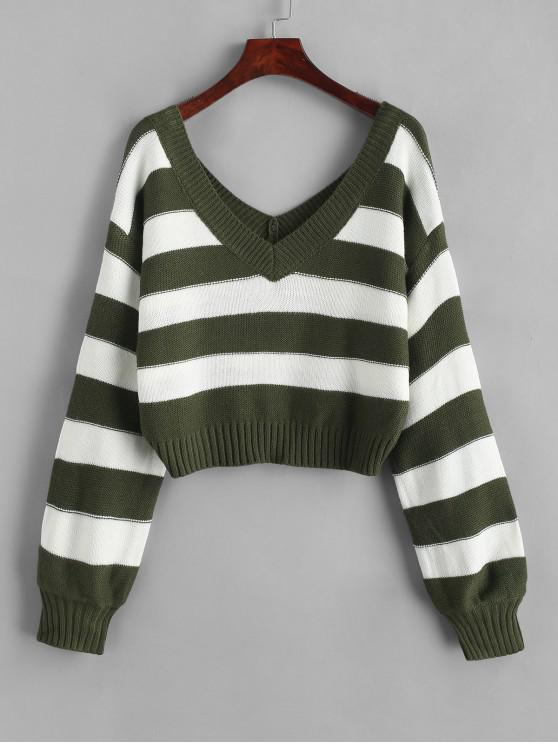 lady ZAFUL Double V Stripes Color Block Pullover Sweater - GREEN S