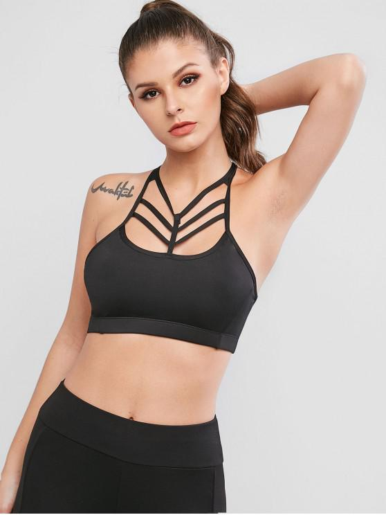 women's Caged Bralette Pullover Gym Bra - BLACK M