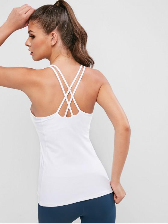 online Active Perforated Crisscross Tank Top - WHITE XL