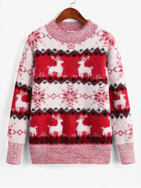 best Mock Neck Elk Snowflake Graphic Christmas Sweater - RED ONE SIZE