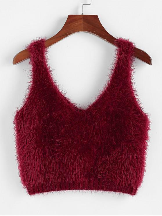 latest ZAFUL Fuzzy Sleeveless Crop Sweater - RED WINE S
