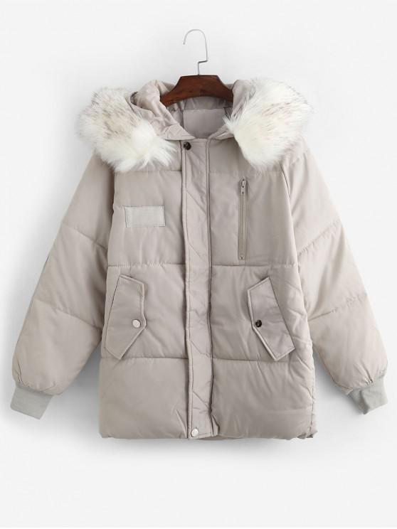 hot Flap Pocket Puffer Coat with Faux Fur Hood - BEIGE S