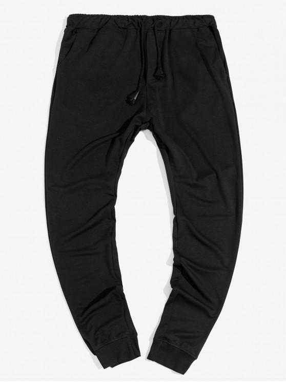 unique Solid Color Drawstring Casual Jogger Pants - BLACK M