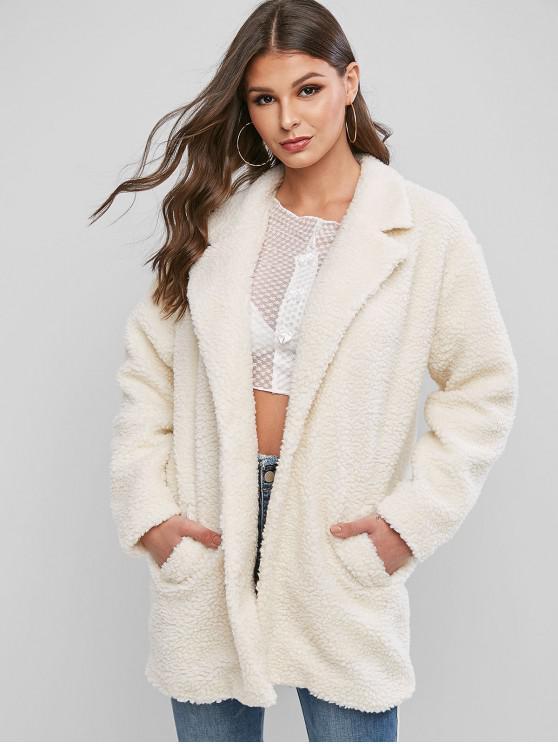 sale ZAFUL Faux Fur Fuzzy Coat - WARM WHITE L