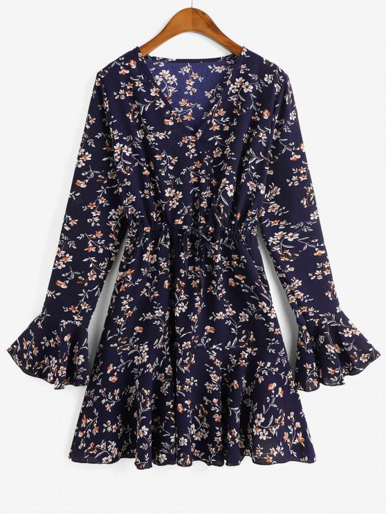 outfit Drawstring Ditsy Floral Flare Sleeve Surplice Dress - CADETBLUE L