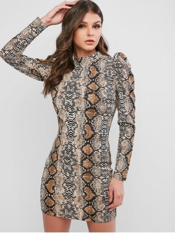 lady ZAFUL Long Sleeve Snake Print Mini Bodycon Dress - MULTI XL