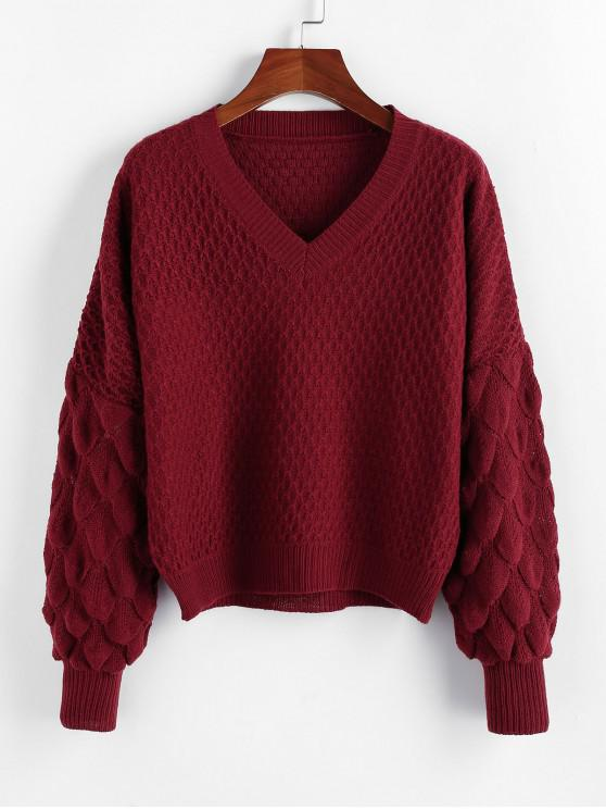fashion ZAFUL Fish Scale Knit Drop Shoulder V Neck Sweater - RED WINE S