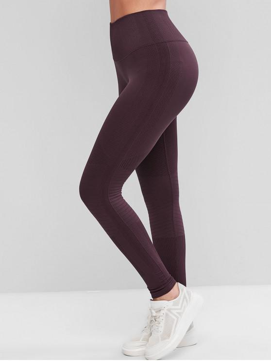 unique Rib Knit High Waisted Skinny Sport Leggings - RED WINE L