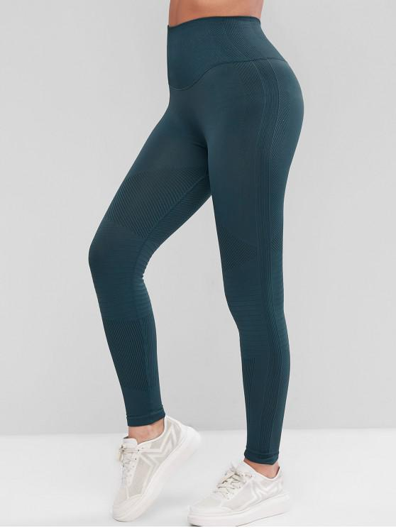 new Rib Knit High Waisted Skinny Sport Leggings - CADETBLUE L