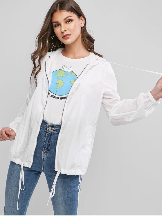 womens ZAFUL O Ring Zip Up Hooded Coat - CRYSTAL CREAM XL