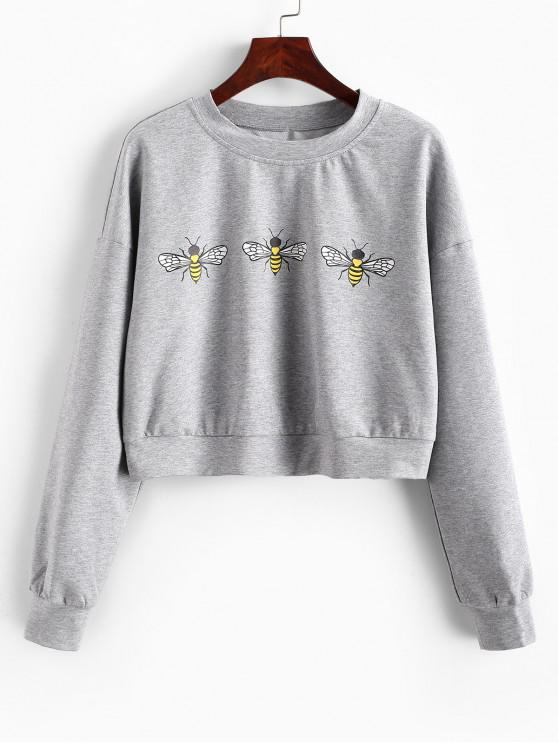 new ZAFUL Bee Graphic Cropped Sweatshirt - LIGHT GRAY S