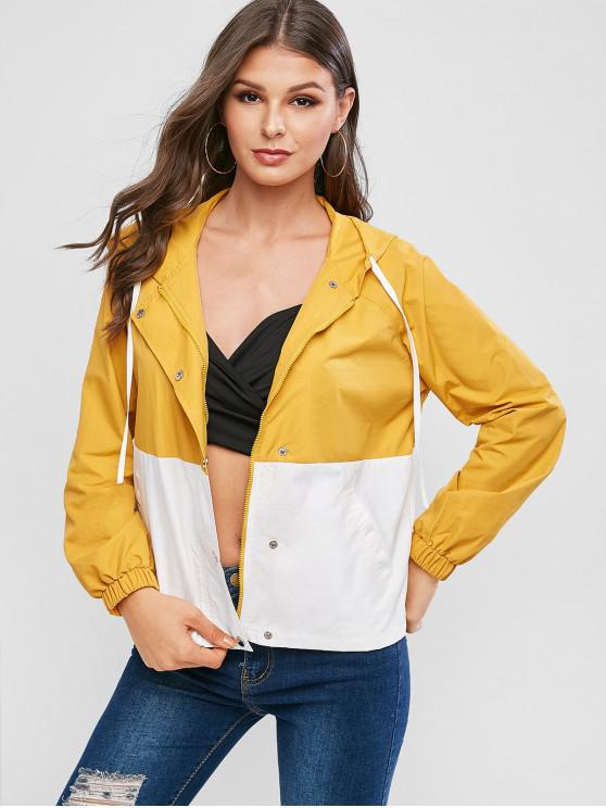 sale ZAFUL Two Tone Hooded Jacket - GINGER BROWN S