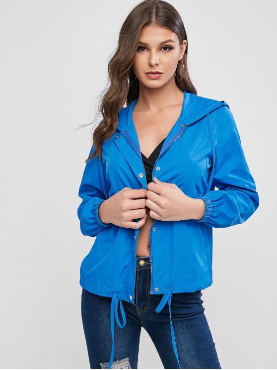womens ZAFUL Zip Up Windbreak Hooded Jacket - BLUE XL