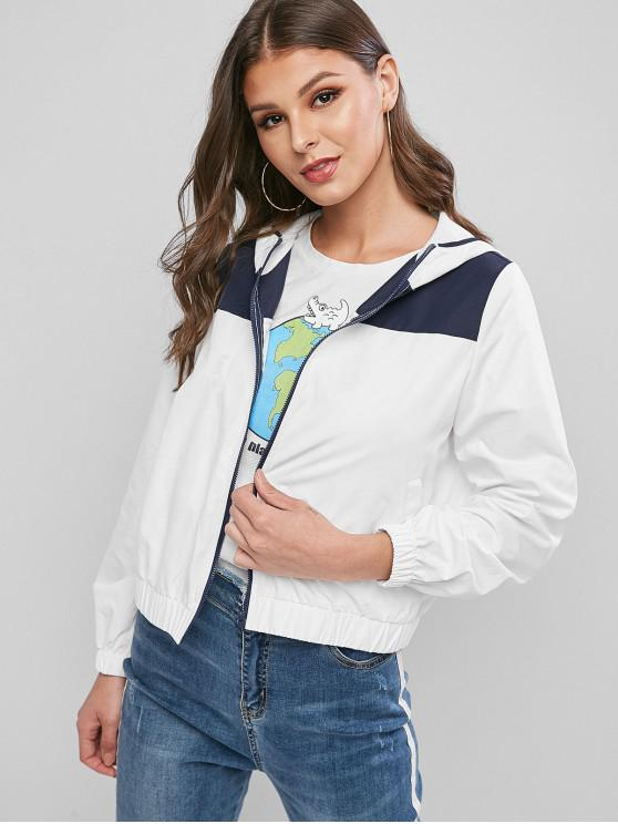 ladies ZAFUL Colorblock Zip Up Hooded Windbreak Jacket - MILK WHITE L