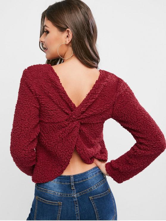online ZAFUL Twist Back Solid Teddy Sweatshirt - RED WINE M