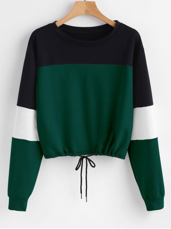 shop Pullover Color Block Sweatshirt - GREEN L
