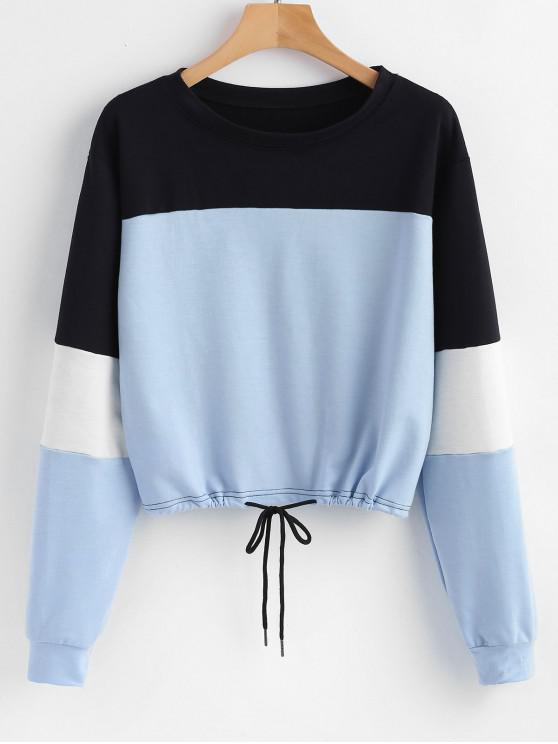 womens Pullover Color Block Sweatshirt - LIGHT BLUE L