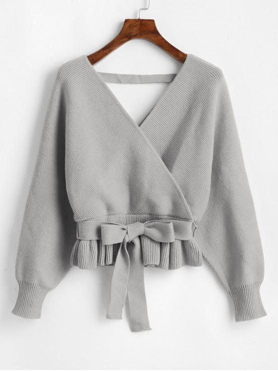 unique Plunging Batwing Sleeve Peplum Belted Sweater - GRAY ONE SIZE