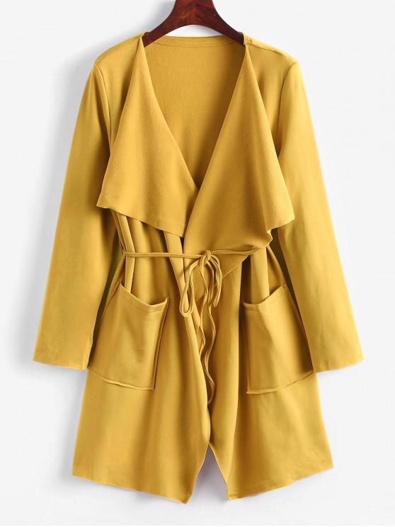 lady Belted Skirted Patched Pockets Waterfall Coat - BEE YELLOW M