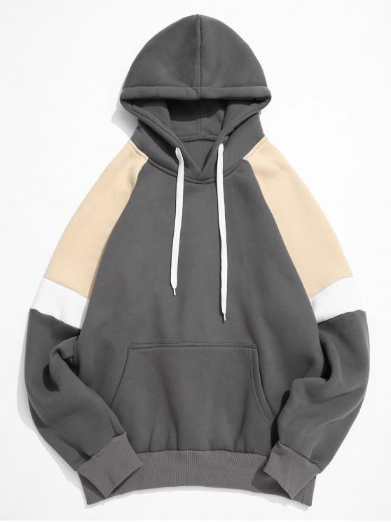 unique Colorblock Splicing Raglan Sleeve Pullover Hoodie - DARK GRAY 3XL