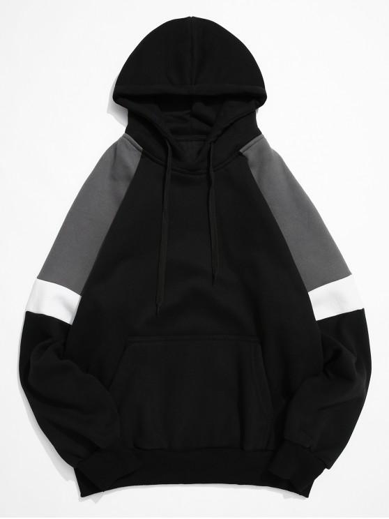 chic Colorblock Splicing Raglan Sleeve Pullover Hoodie - BLACK 3XL