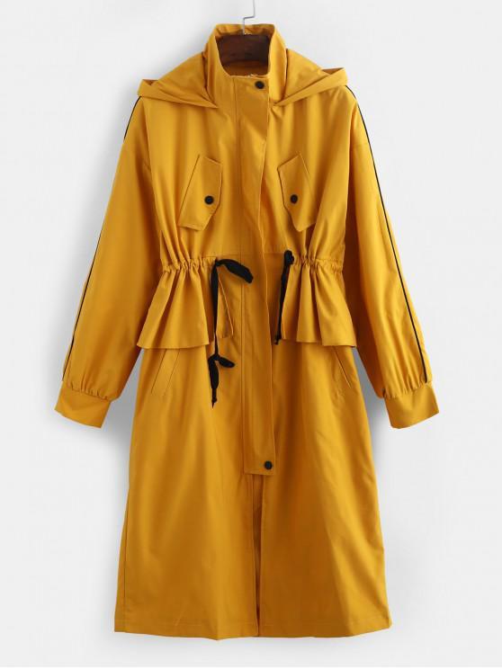 women Zip Up Drawstring Waist Hooded Trench Coat - SUN YELLOW M