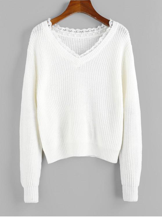 womens ZAFUL Lace Insert V Neck Drop Shoulder Sweater - MILK WHITE L