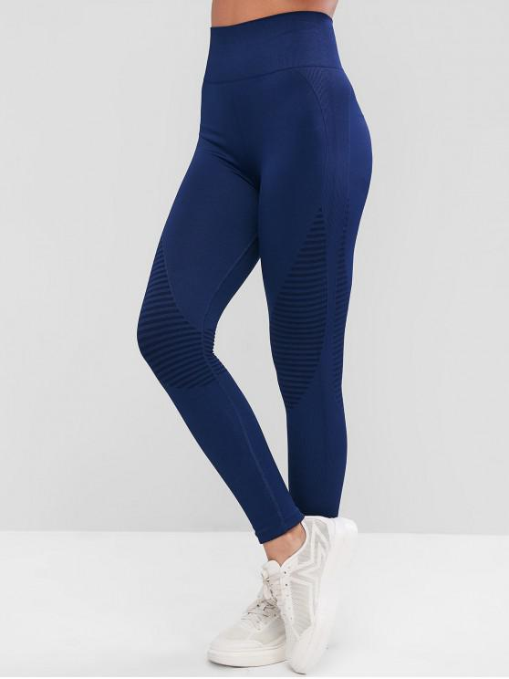 ladies High Waisted Striped Ribbed Sport Leggings - CADETBLUE M