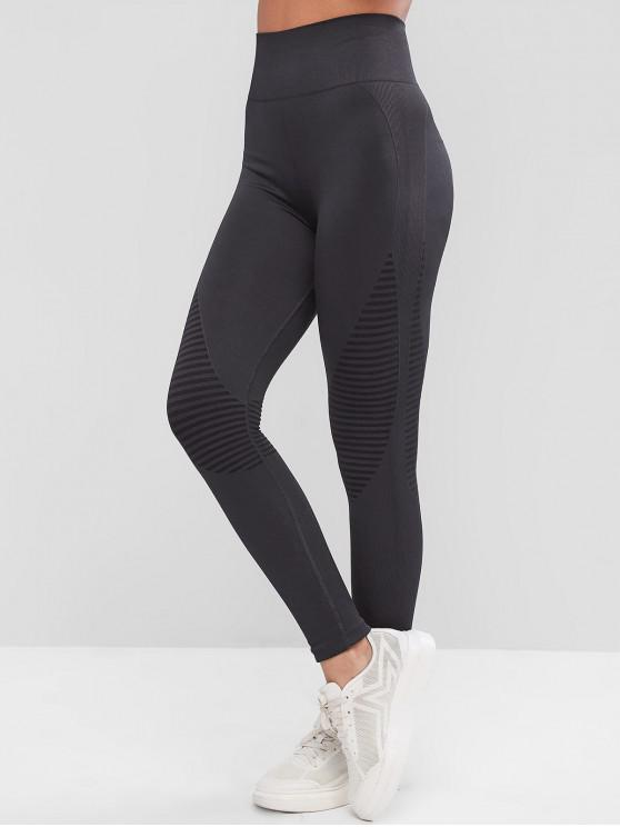 shop High Waisted Striped Ribbed Sport Leggings - GRAY L