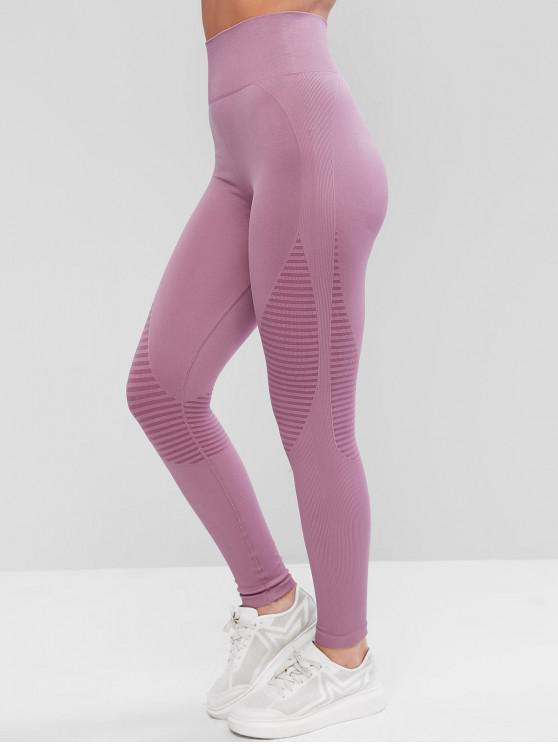 fancy High Waisted Striped Ribbed Sport Leggings - PINK L