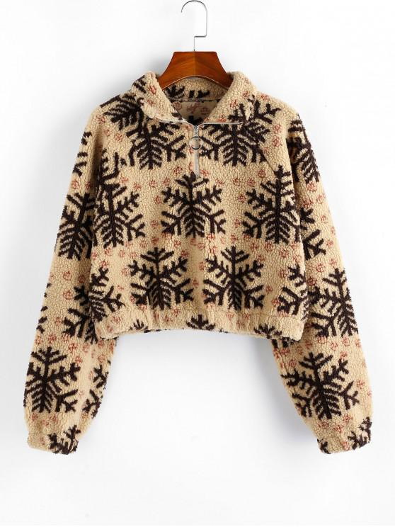 trendy ZAFUL Christmas Snowflake Quarter Zip Teddy Sweatshirt - MULTI XL