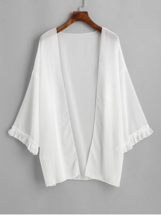 womens Chiffon See Thru Frilled Cuff Kimono Cover Up - WHITE ONE SIZE