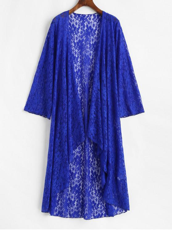 ladies Lace See Thru Waterfall Longline Beach Cover Up - BLUE ONE SIZE