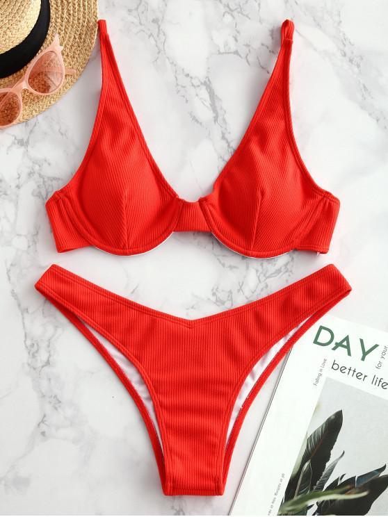 affordable ZAFUL Ribbed Plunge Underwire Bikini Swimsuit - BRIGHT ORANGE S