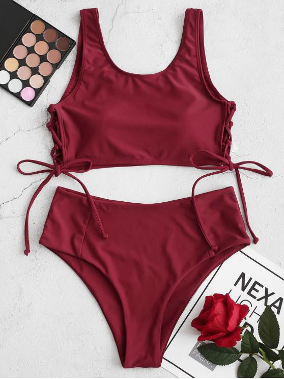 affordable ZAFUL Side Lace-up Tankini Swimsuit - RED WINE 2XL